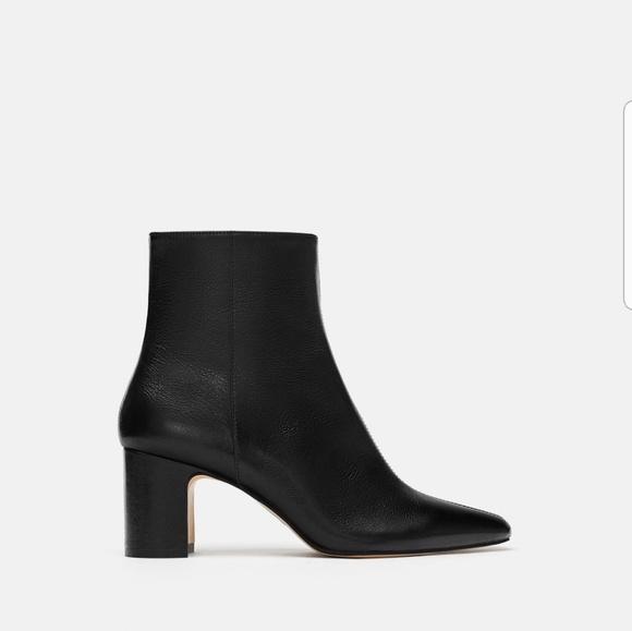 Zara Black Italian Leather Ankle Boots